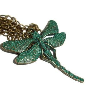 Dragonfly Patina Bronze Necklace 20 inch
